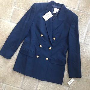 NWT Talbots Double Breated Blue Wool Blazer